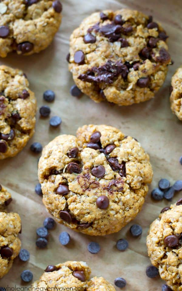 These jam-packed peanut butter chocolate chip cookies are so soft and chewy, you won't believe that they're completely flourless!---Ready for after-school snacktime in less than 15 minutes. @WholeHeavenly