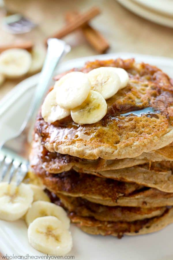 These dynamite pancakes combine all the things you love about banana bread and cinnamon rolls into one irresistible stack of pancakes.---You've just found a new weekend favorite! @WholeHeavenly