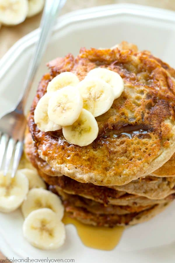 These dynamite pancakes combine all the things you love about banana bread and cinnamon rolls into one irresistible stack of pancakes.---You've just found a new weekend favorite!