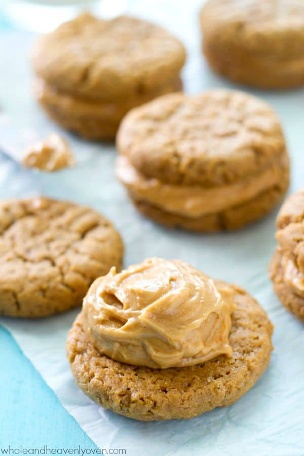 Filled with a luscious peanut butter cream filling and unbelievably easy to whip up, these extra-chewy peanut butter sandwich cookies are totally a peanut butter-lover's dream! @WholeHeavenly