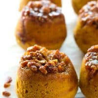 An irresistible sticky pecan topping stars in these soft pumpkin spiced muffins---like a cross between a sticky bun and a muffin all rolled in one!