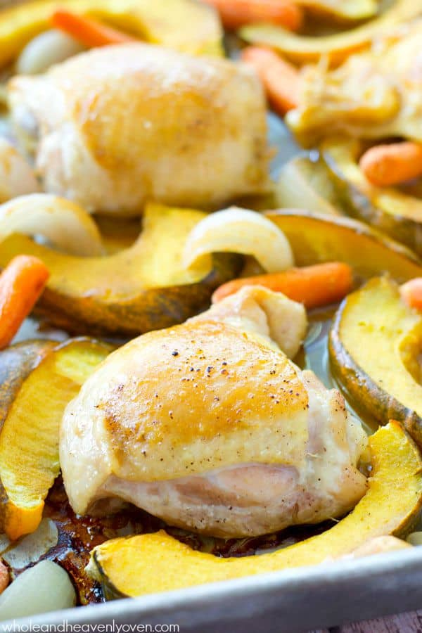This comforting roast chicken is brushed with an unbelievable maple-mustard sauce and roasted to perfection with fall veggies. @WholeHeavenly