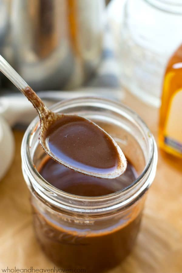 Skip that coffee shop run! It'll only take you five minutes and four ingredients to whip up this agave mocha coffee syrup that makes any cup of coffee taste like a cafe-style mocha! @WholeHeavenly