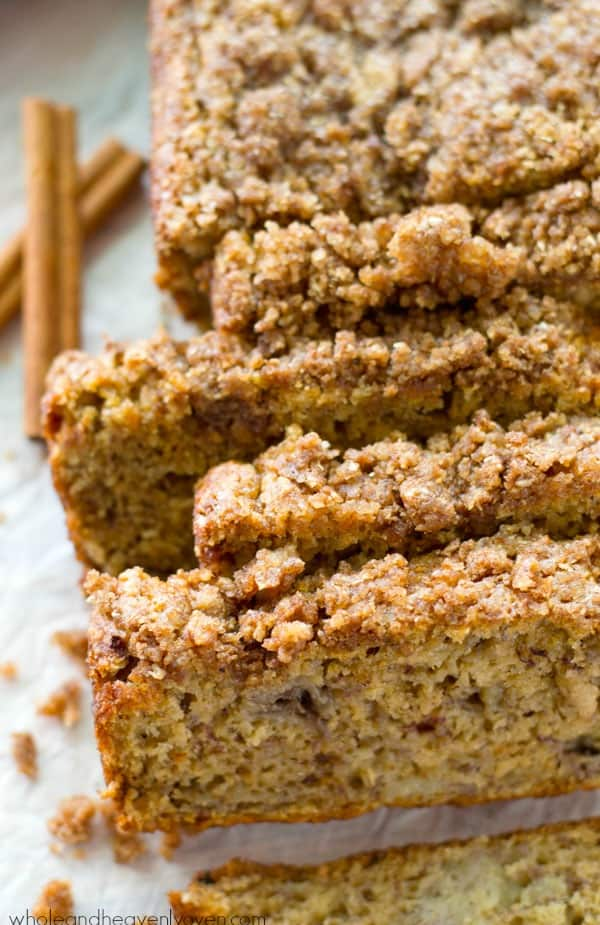 Enjoy all the flavors and textures you love about coffee cake and banana bread all in one irresistible cinnamon streusel-covered loaf! @WholeHeavenly