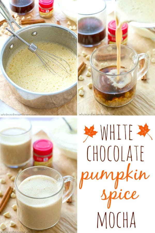 White chocolate and pumpkin spice are a match made in coffee heaven with these simple hot mochas that call for a handful of ingredients and are ready for sipping in less than 10 minutes! @WholeHeavenly