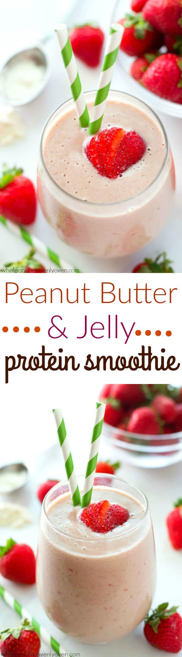 Packed with peanut butter and jelly flavors and loaded up with THREE sources of protein, this simple smoothie is a healthy breakfast must! @WholeHeavenly