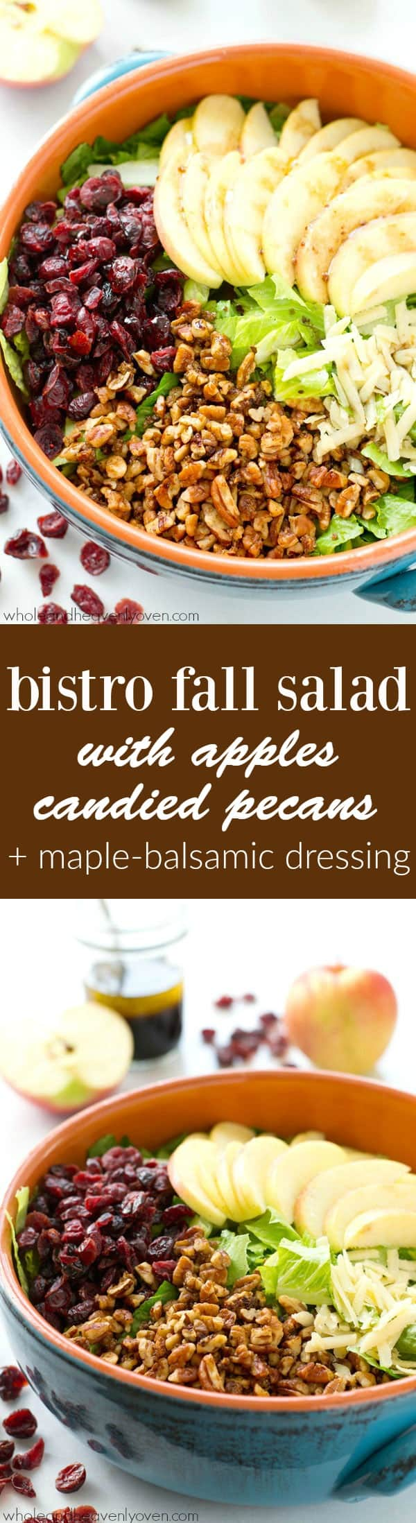 Loaded with crisp apples, homemade candied pecans, a tangy maple balsamic dressing, and tons of other fall goodness, this bistro fall salad is the ultimate way to celebrate the season! @WholeHeavenly