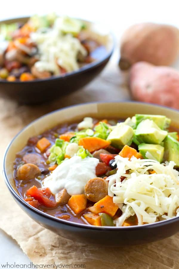 Dinner practically makes itself with this crockpot sweet potato sausage chili that cooks up entirely in the crockpot.---Totally the best kind of comfort food! @WholeHeavenly