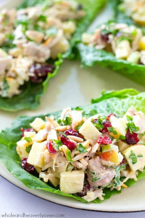 Extra-creamy and loaded with crunchy apples and cranberries, this colorful chicken salad makes the perfect filler for these beautiful and healthy lettuce wraps! @WholeHeavenly