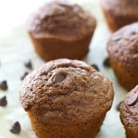 Ultra-moist and fudgy inside and loaded up with a double-whammy of chocolate, you'd never guess that these brownie-like muffins are lighter on the calories!