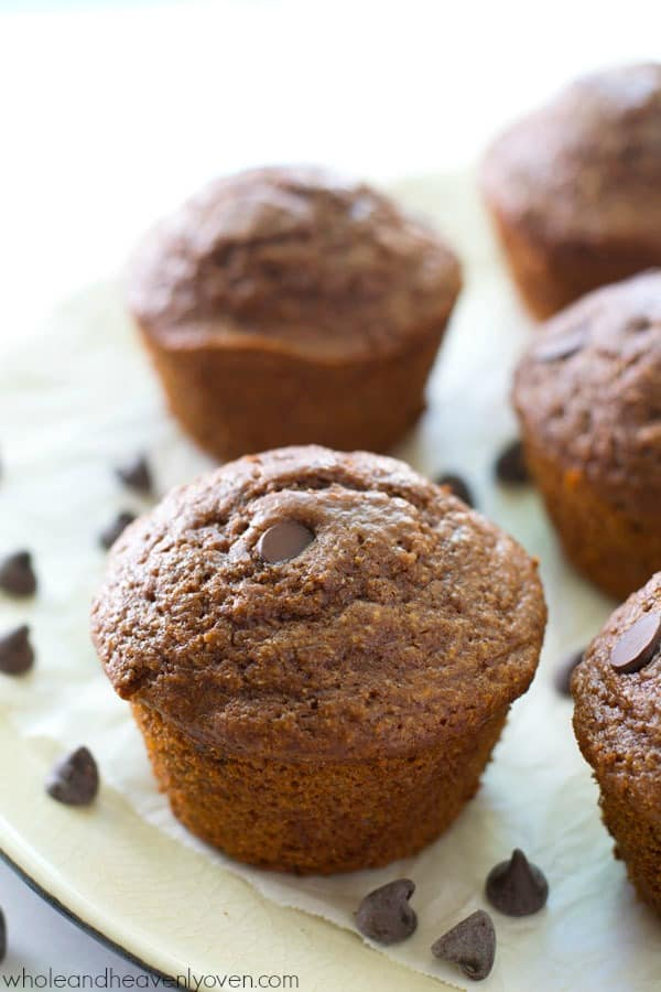 Ultra-moist and fudgy inside and loaded up with a double-whammy of chocolate, you'd never guess that these brownie-like muffins are lighter on the calories! @WholeHeavenly