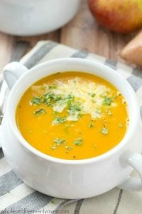 Velvety-smooth and loaded with sweet potato and apple flavors, this fall-flavored cream soup is the ultimate warm-up on a chilly day!