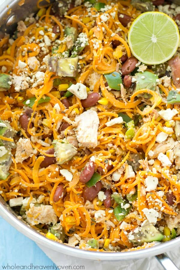 Loaded with all kinds of Mexican-style goodness and made entirely in one skillet, these easy sweet potato noodles are going to quickly become a family favorite!