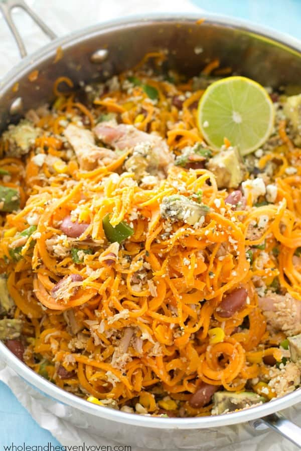 Loaded with all kinds of Mexican-style goodness and made entirely in one skillet, these easy sweet potato noodles are going to quickly become a family favorite! @WholeHeavenly