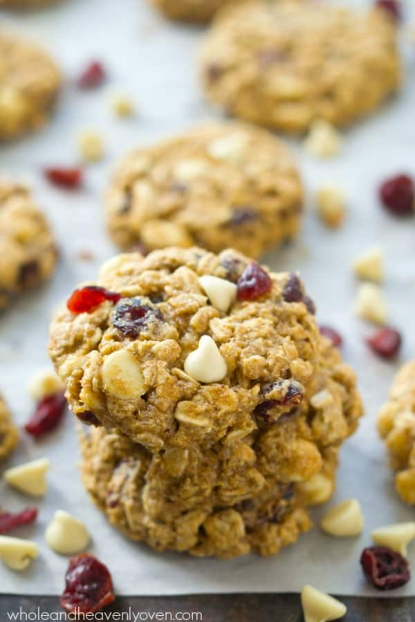 Soft, chewy, and loaded with white chocolate and cranberries, these oatmeal cookies are quick to whip up and the dough can even be made ahead of time for whenever that cookie-craving hits!