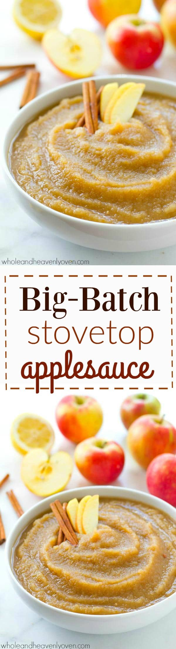 Lightly spiced and loaded with cozy fall apple flavors, this easy big batch-style stovetop applesauce cooks in minutes on the stove and is the perfect way to use up all those fall apples! @WholeHeavenly