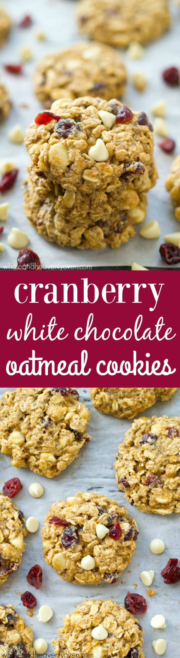 Soft, chewy, and loaded with white chocolate and cranberries, these oatmeal cookies are quick to whip up and the dough can even be made ahead of time for whenever that cookie-craving hits! @WholeHeavenly
