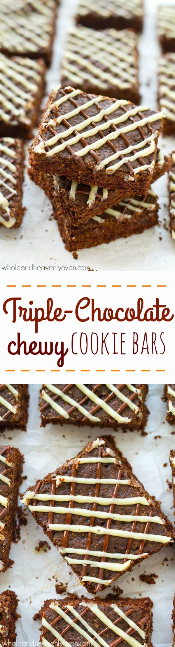 These soft and chewy chocolate cookie bars are any chocolate-lover's dream! Loaded with three kinds of chocolate to satisfy even the biggest sweet tooth. @WholeHeavenly