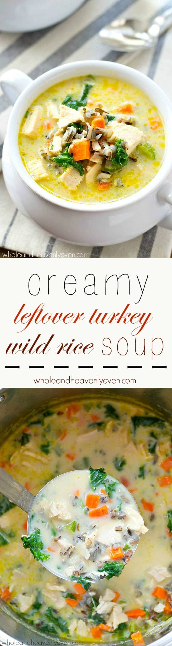 Extra-creamy and loaded with wild rice, turkey, and plenty of comfort, this turkey wild rice soup is the easiest way to use up that leftover Thanksgiving turkey! @WholeHeavenly
