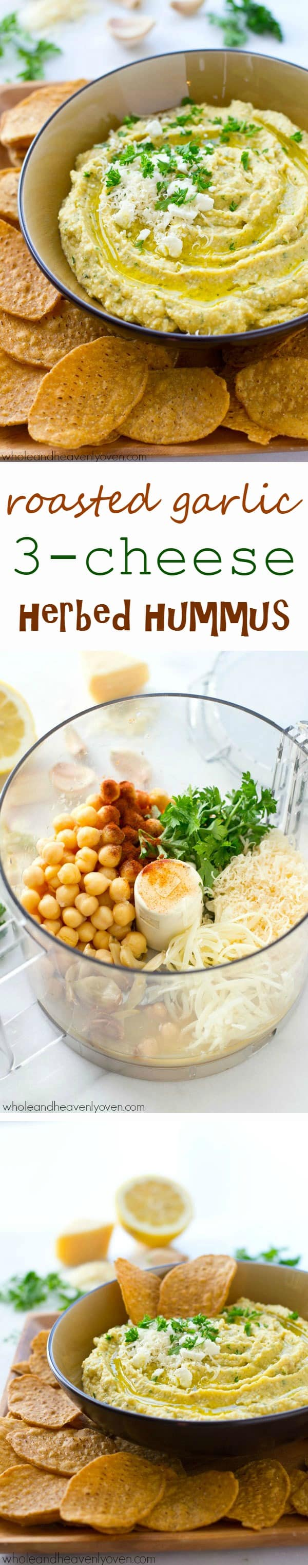 A trio of cheeses, homemade roasted garlic, and fresh herbs star in this super-easy and unbelievably smooth hummus.---It's the perfect dip for any holiday appetizer table! @WholeHeavenly