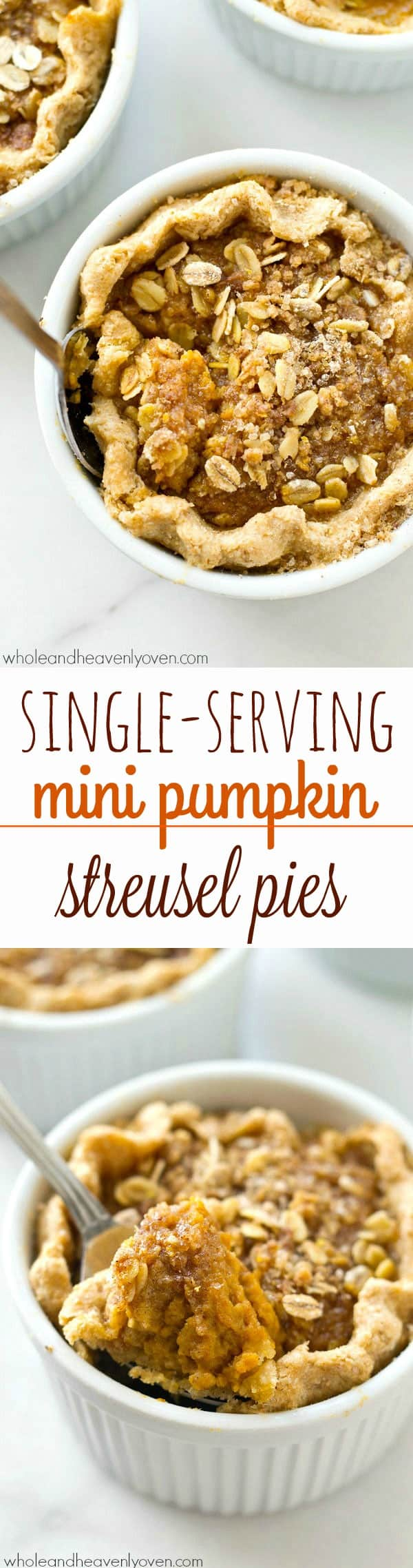 Loaded with buttery oat streusel on top of silky pumpkin filling, these mini pumpkin streusel pies are the perfect way to get your pumpkin pie fix...in personal-sized form! @WholeHeavenly