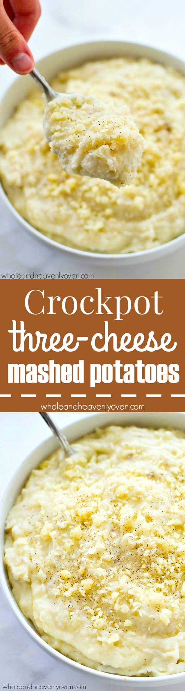Made completely in the crockpot and ultimately-easy, these three-cheese mashed potatoes are a comforting and absolutely essential Thanksgiving side! @WholeHeavenly