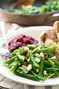 These holiday-style browned butter cranberry green beans are a breeze to throw together and the flavor combination is absolutely heavenly!