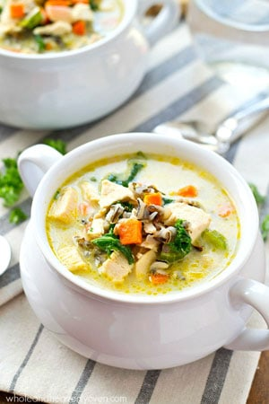 Extra-creamy and loaded with wild rice, turkey, and plenty of comfort, this turkey wild rice soup is the easiest way to use up that leftover Thanksgiving turkey!