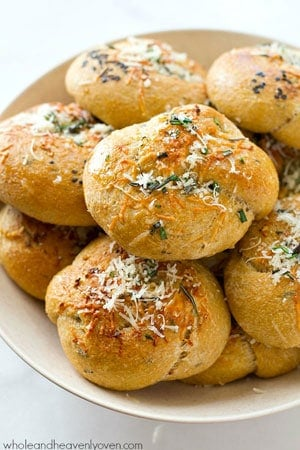 These extra-soft parmesan garlic rosemary rolls are unbelievably easy, yet totally impressive for your Thanksgiving table!