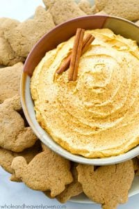 Need a last-minute Thanksgiving appetizer? This pumpkin cheesecake dip whips up in 5 minutes flat and is seriously addicting! Don't forget the homemade turkey gingersnap dippers!