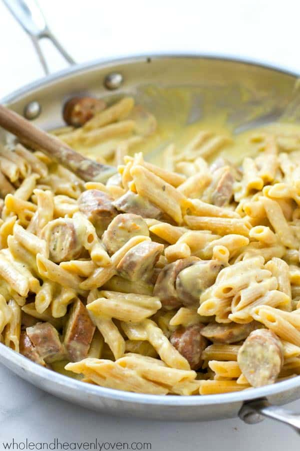 Ultimately creamy and packed with sausage and a mild pumpkin flavor, this pumpkin sausage alfredo penne is going to become your favorite fall comfort food! @WholeHeavenly