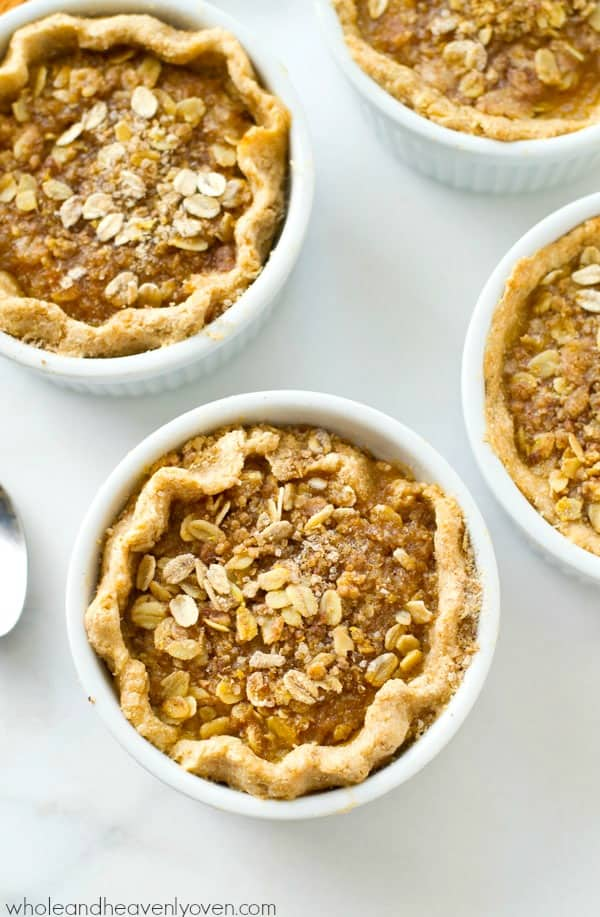 Loaded with buttery oat streusel on top of silky pumpkin filling, these mini pumpkin streusel pies are the perfect way to get your pumpkin pie fix...in personal-sized form!