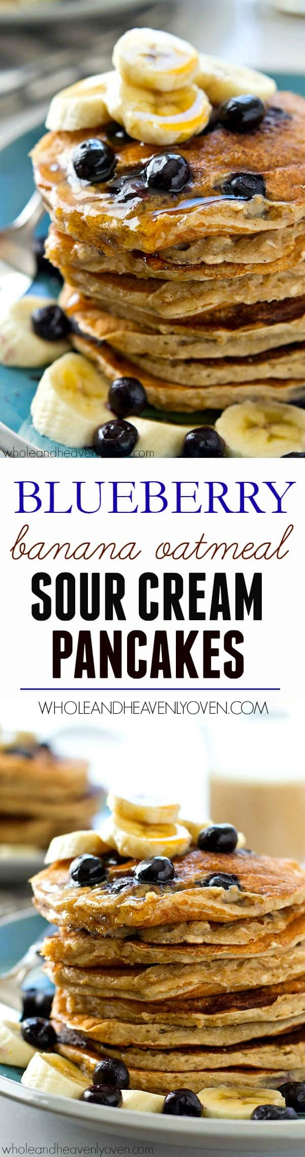 Extra-fluffy inside and loaded with oats, blueberries, and banana flavor, these oatmeal sour cream pancakes are a perfect healthier way to get your pancake fix!