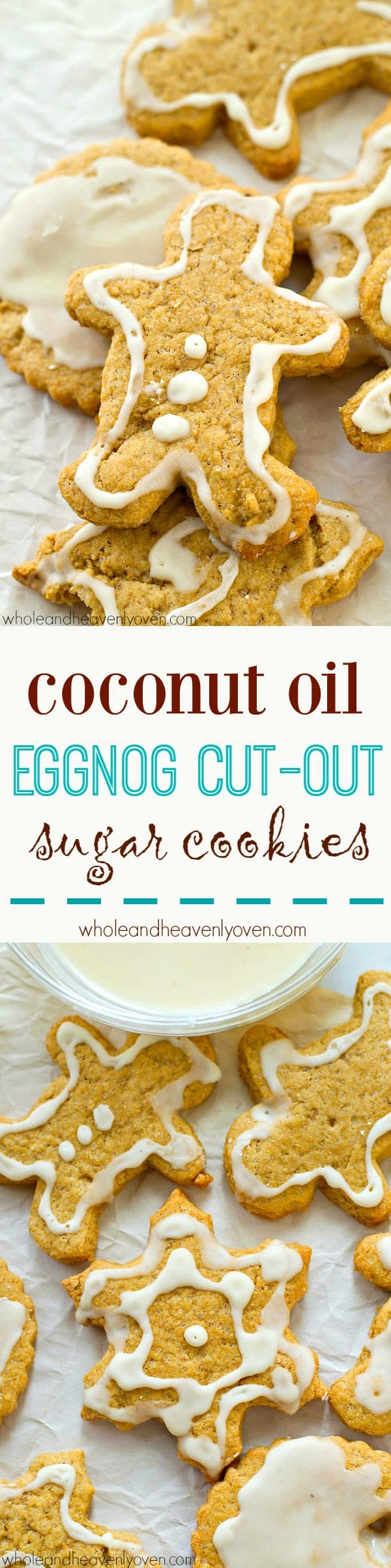 Nobody will believe that these soft and chewy cut-out sugar cookies use coconut oil instead of butter! Use your favorite frosting or my eggnog icing to decorate them.
