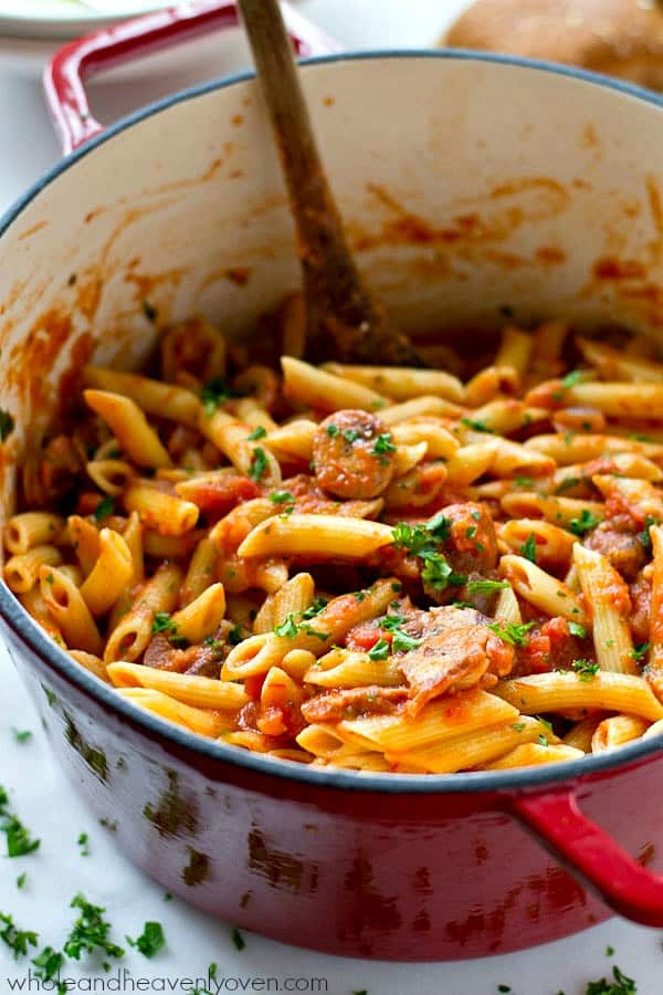 Penne sausage alla vodka has never been easier to make at home! Ready in 30 minutes with minimal work and TONS of cozy, comforting flavors. @WholeHeavenly