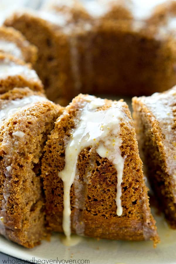 Drizzled with plenty of tangy orange glaze and packed with tons of cozy spices, this super-moist gingerbread bundt cake makes an impressive AND easy holiday dessert!