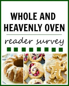 Speak your mind! I want to know all the things you want to see from Whole and Heavenly Oven in 2016. Thank you for taking this quick reader survey!