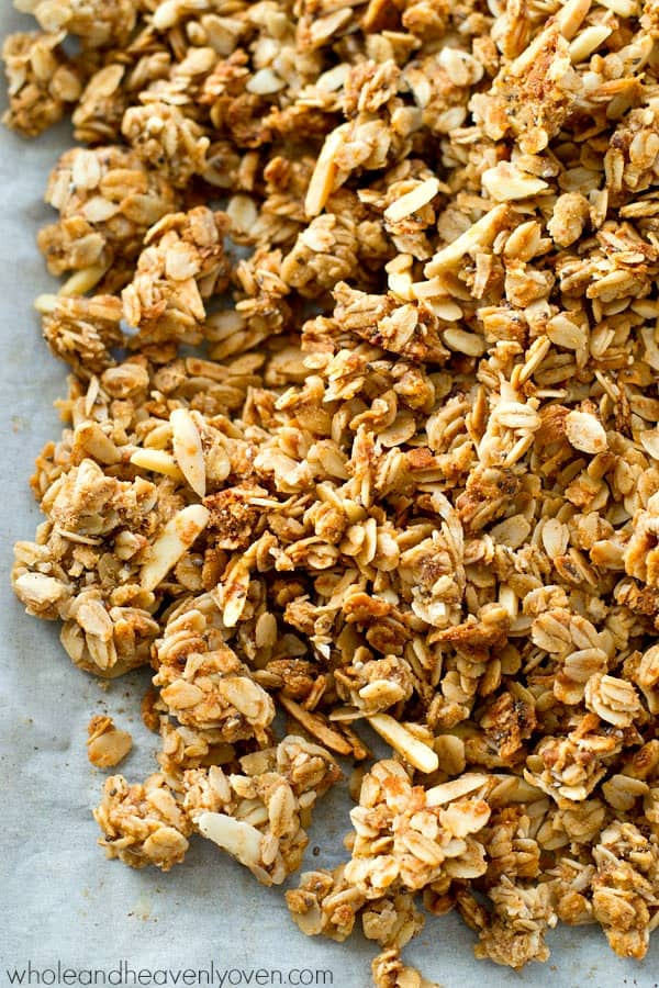Lightly flavored with chai spices and perfectly crunchy almond butter homemade granola! Meet your breakfast's new best friend.