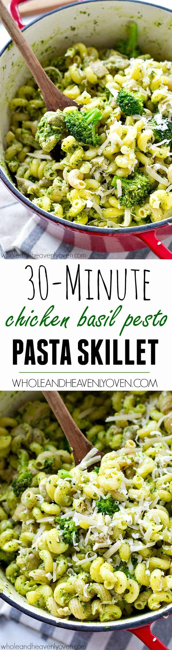 Put dinner on the table in 30 minutes flat with this simple chicken basil pesto pasta skillet that's just loaded with healthy green goodness!
