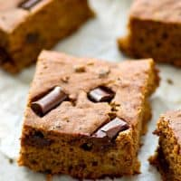 Ultra-soft and moist banana snack cake with a double-whammy of chocolate and surprisingly lighter on the calories too!---Have two or three pieces without the guilt.