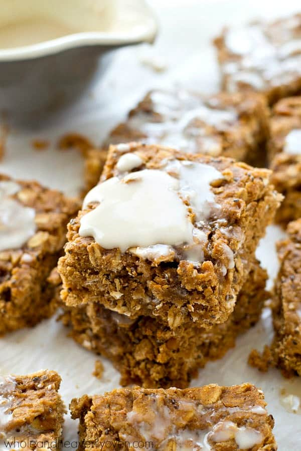 Made with NO butter or oil and loaded with heart-healthy grains, these frosted breakfast bars make the best grab-and-go breakfast or energy-boosting snack!