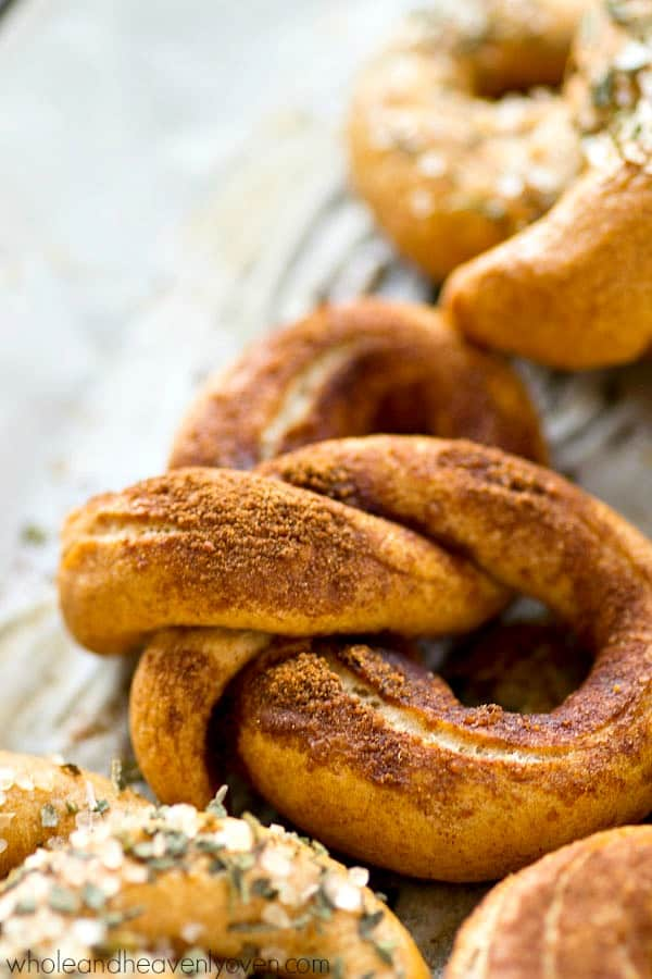 You will NEVER find a more amazing or easier soft pretzel in the world than these! This recipe is a keeper.---Top them with your choice of either cinnamon sugar or garlic herb salt.