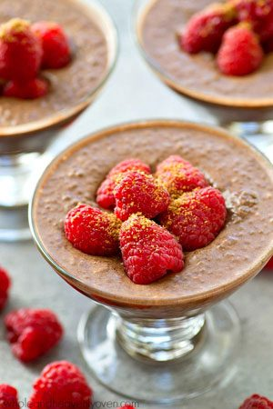 Extra-creamy and made completely in the fridge, this mocha-flavored raspberry chia seed pudding is the perfect way to get your healthy sweet tooth fix!