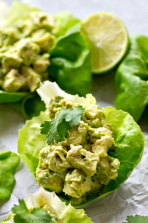 Chicken salad lettuce wraps lightened up with healthy avocado and NO mayonnaise at all! These wraps are going to quickly become a lunch favorite.