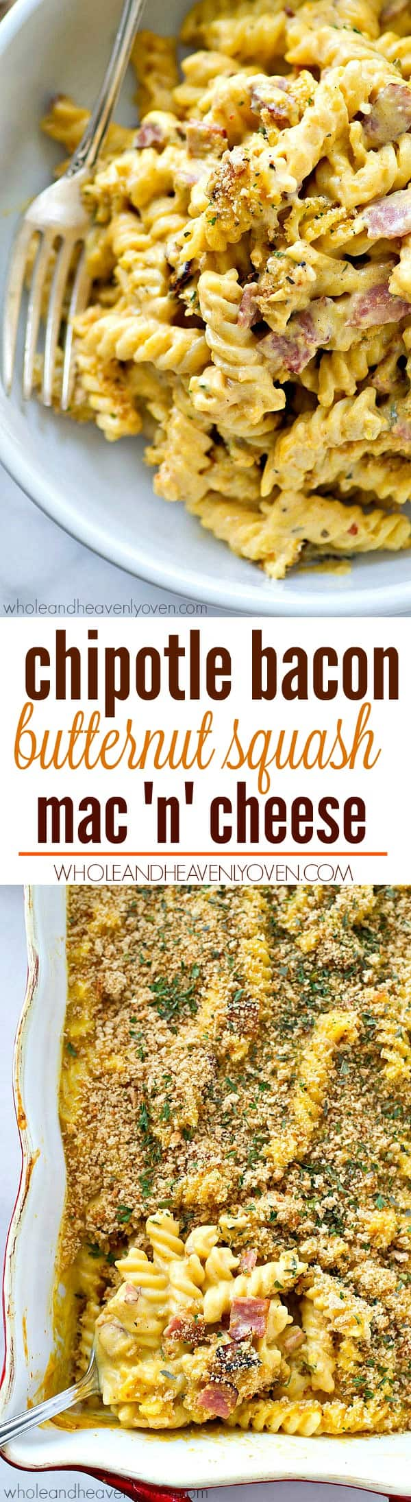 Kicked up with chipotle pepper and bacon and made extra-creamy from butternut squash, this mac 'n' cheese will soon become your new addiction!