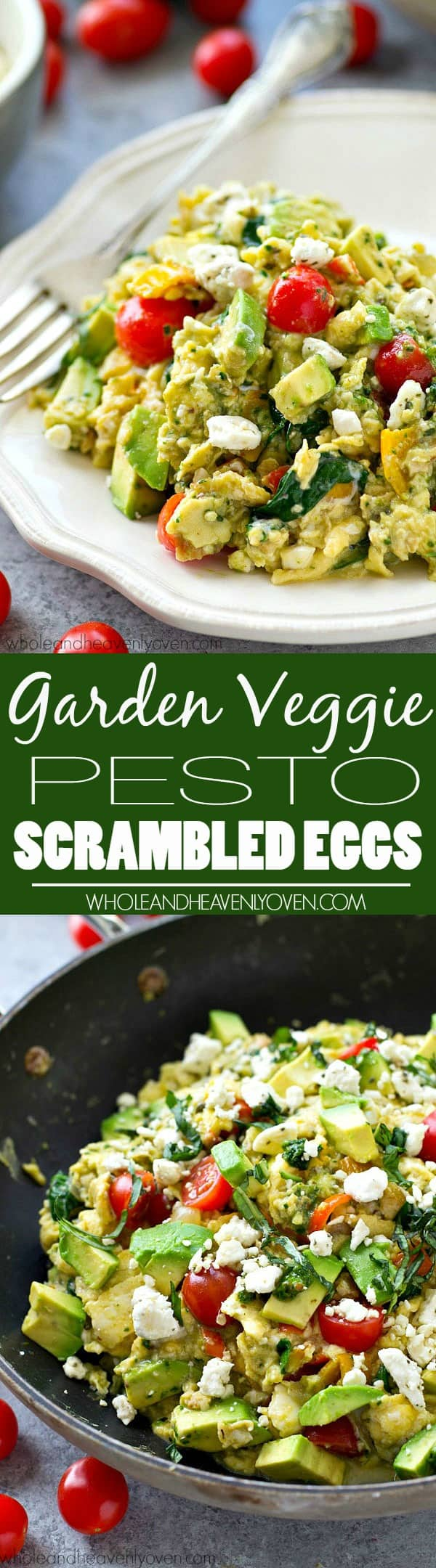 Scrambled eggs get a BIG boost in the flavor department with a rainbow of garden veggies and lots of flavorful pesto!