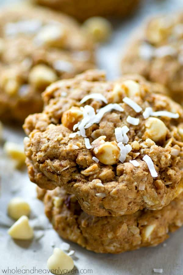 These ultimately-chewy oatmeal cookies are a texture-lover's DREAM! Lots of coconut, oats, nuts, and white chocolate all wrapped up into one addicting cookie.