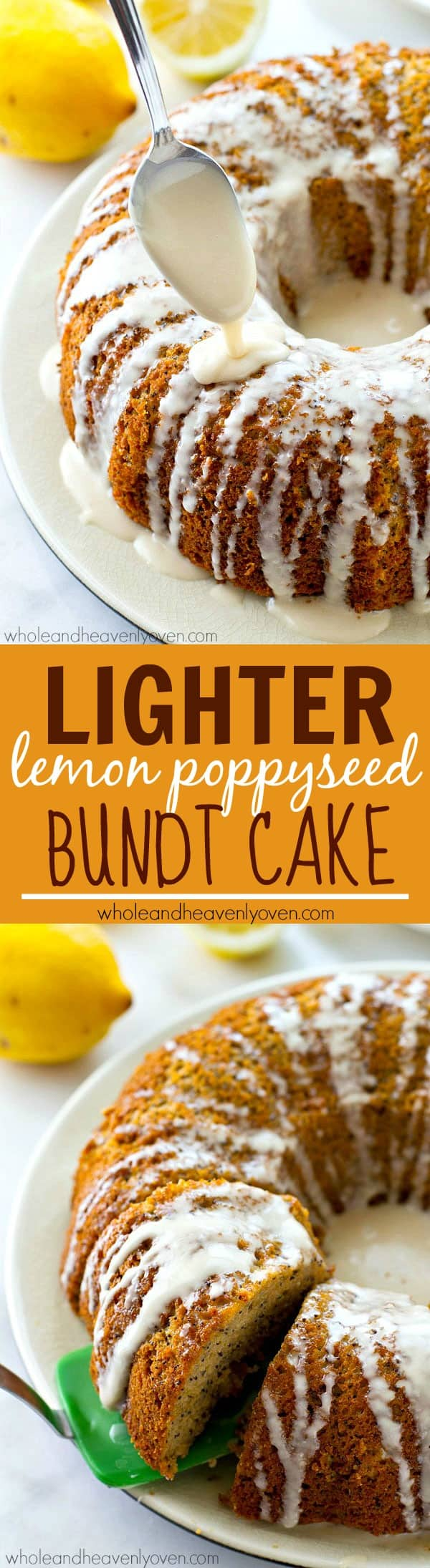 This springy lemon poppyseed bundt cake is so soft and moist inside, you'd never guess its lighter on the calories! A showstopping springtime dessert you'll make over and over again.