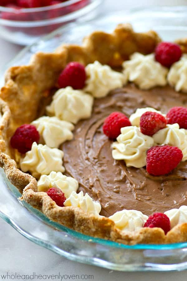 Classic french silk chocolate pie lightened-up so you don't have to feel bad about going back for that second piece! This pie is a keeper recipe.