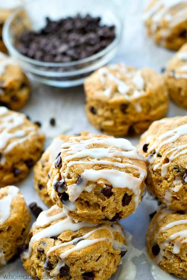 Classic biscuits with a mini sweet-style twist! These little pastries are loaded with mini chocolate chips and frosted to absolute biscuit perfection.---Made in one bowl in only 20 minutes!